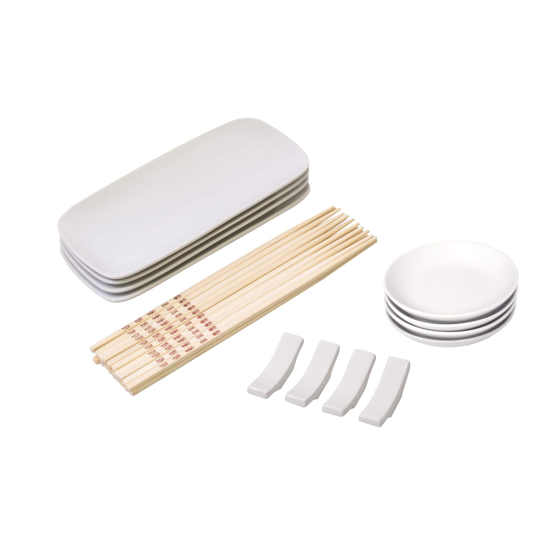 HIC Harold Import Co Porcelain and Bamboo Sushi Dinnerware Set, Service for 4