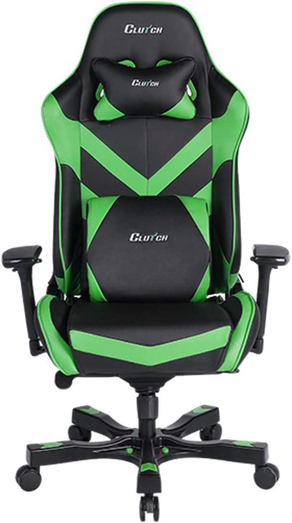 Clutch Chairz - Silla ergonómica para videojuegos, sillas de videojuegos, silla de oficina, silla alta y almohada lumbar para escritorio de ordenador - Negro/Verde - Serie Throttle