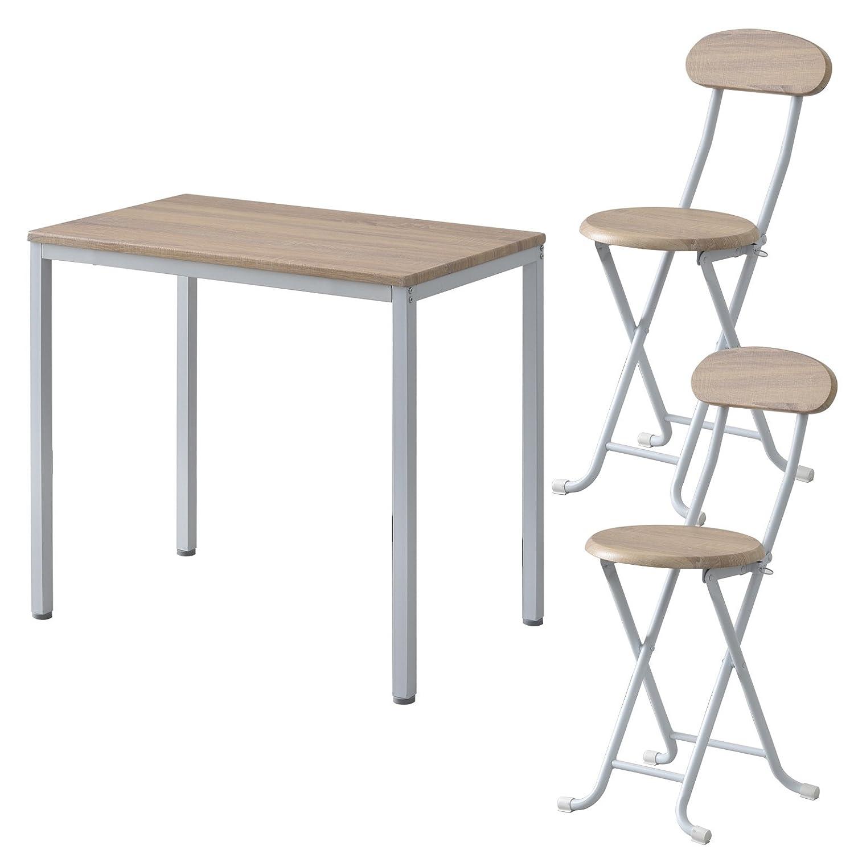 ワイエムワールド ヴィンテージ調 デザイン ボートン テーブル + 折りたたみ式 チェア 2脚 計3点セット 【カラー: ナチュラル 】 34-125 B07BKN5NX7 テーブル+チェア2脚|ナチュラル ナチュラル テーブル+チェア2脚