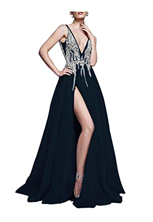 a1a701d42b84a0 QueenBridal Prom Dress Sexy Deep V Neck Sequins Tulle and Lace Sex High  Split Long Evening