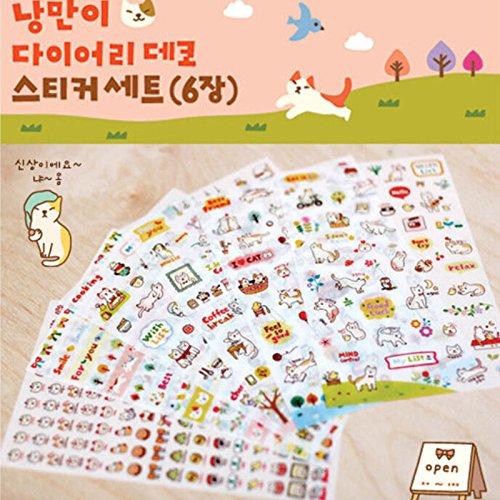 NEW 6* Sheets Kawaii Cartoon Cat Paper Sticker for Scrapbooking Diary Decors (Flair Scrapbook Paper)