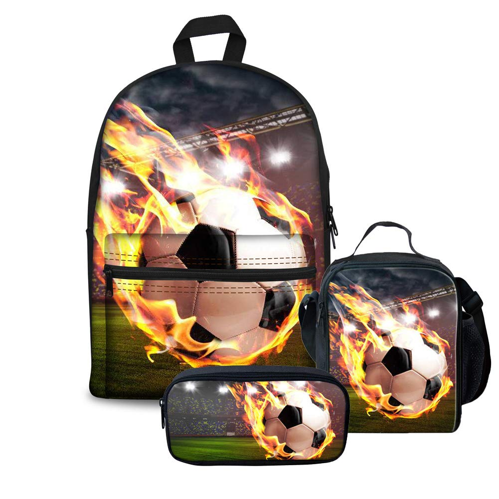 743227080d4 Galleon - FOR U DESIGNS Backpack Set For Middle School 3 Pcs Fire Soccer  Lunch Bags Children School Pencil Bag