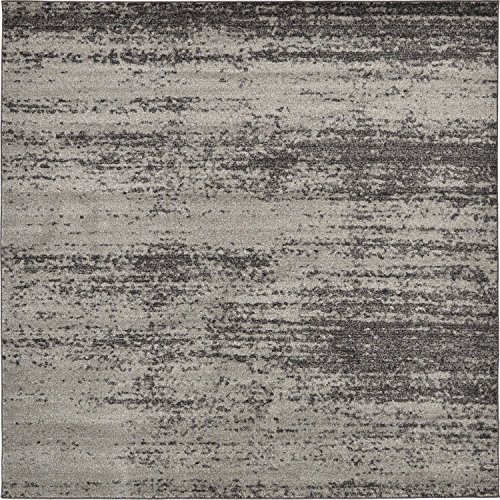 Unique Loom Del Mar Collection Contemporary Transitional Dark Gray Square Rug (8' x 8') (Gray Square Rug)