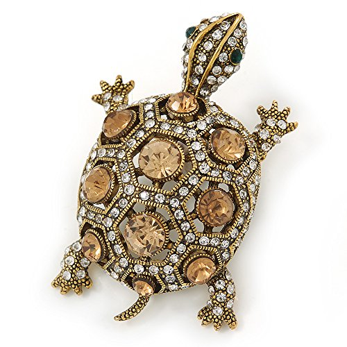 (Vintage Inspired Clear/ Citrine Austrian Crystals Turtle Brooch In Antique Gold Metal - 55mm L)