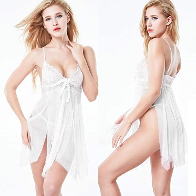 DEELIN Lencería Sexy de Las Mujeres Halter lencería Sexy Baby Doll Pijama de Encaje G-Style Pijama Vestido: Amazon.es: Ropa y accesorios