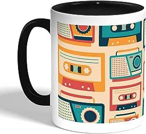 كوب سيراميك للقهوة، اسود،  بتصميم اشرطة موسيقى كلاسيكية