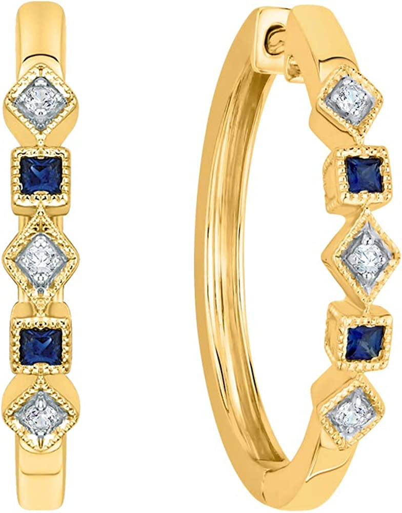 KATARINA Prong Set Diamond and Princess Cut Sapphire Hoop Earrings in Gold or Silver 1//4 cttw, G-H, I2-I3