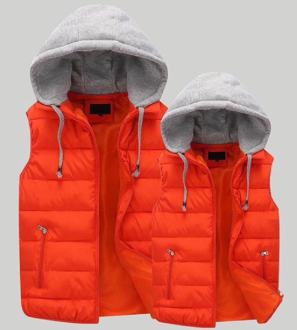 Winwinus Men Stand Collar Warm Pocket Zipper Solid Oversized Thick Down Puffer