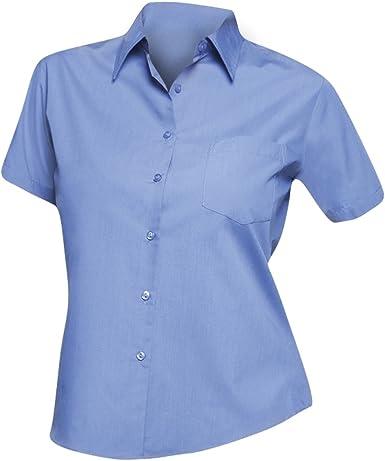 SOLS- Camisa de Trabajo de Manga Corta de popelín para Mujer