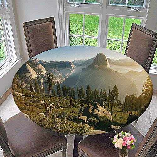 Mikihome Round Premium Tablecloth Valley and Half Dome in The Foggy Morning During Romantic Sunrise Scenery Green Stain Resistant 47.5