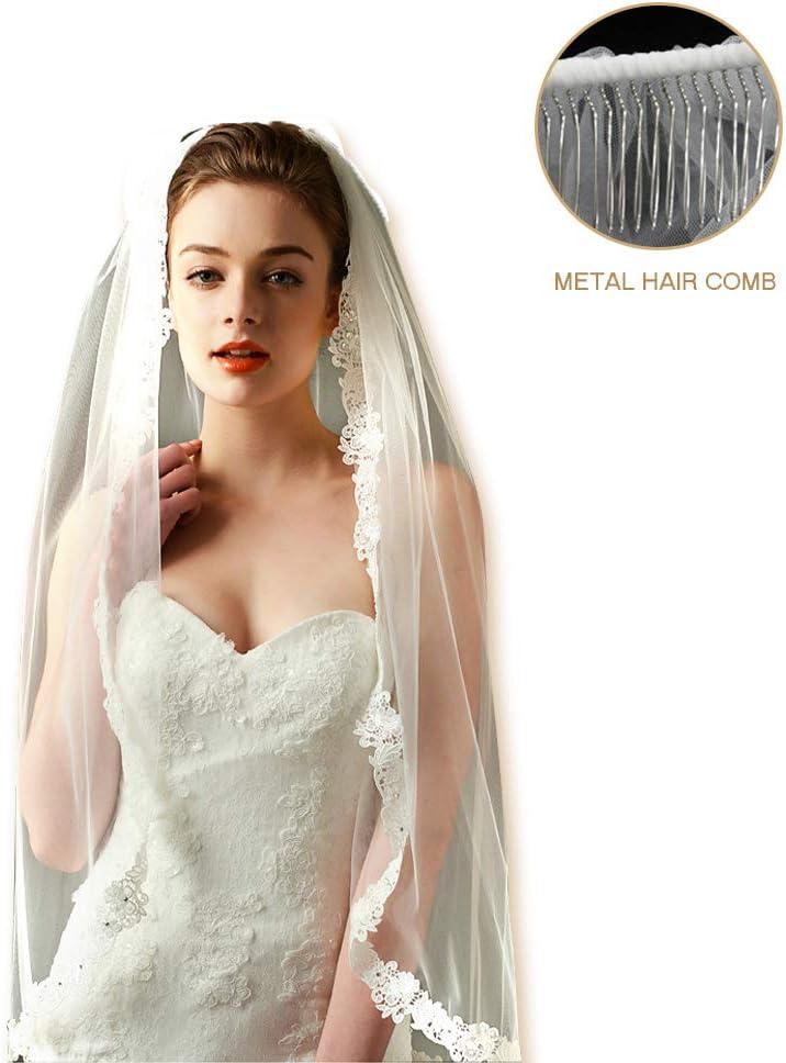 MIAO CODE Fee Hochzeit Schleier Spitze Hochzeit Schleier Kristall Pailletten Handgen/äht Metall Haar Kamm Perfekte Hochzeit Wesentliche