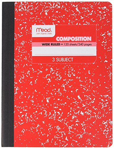 Mead Square Deal Color Composition Book, 3 Subject, 120 Count, Color Will Vary (09950) (Pack of 1)