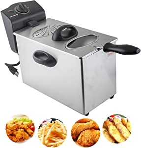 Electric Deep Fryer, 4L Capacity Stainless-Steel Single-Tank Commercial Tabletop Immersion Fryer with Frying Basket for Restaurants, Cafe Shops, Dessert shops, Household and more (3-5 Days Delivery)