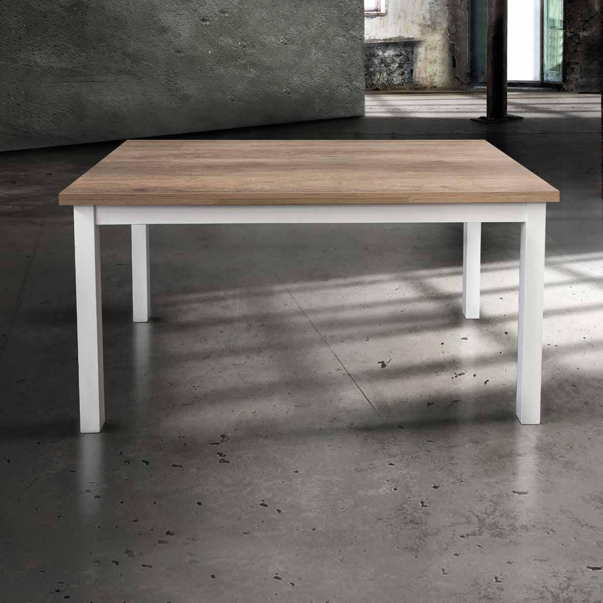 InHouse srls Holztisch mit Metallbeinen cm. 110X70 110X70 110X70 mit 2 Erweiterungen von 40. Offen 190x70 043836
