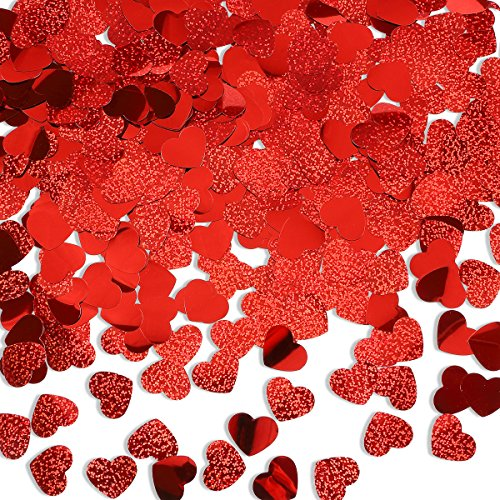 (LeeSky 600Pcs Red Heart Confetti for Valentine's Day Wedding Party Decoration)