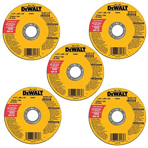 DEWALT DW8062B5 4-1/2-Inch by 0.045-Inch Metal and Stainless Cutting Wheel, 7/8-Inch Arbor, 5-Pack