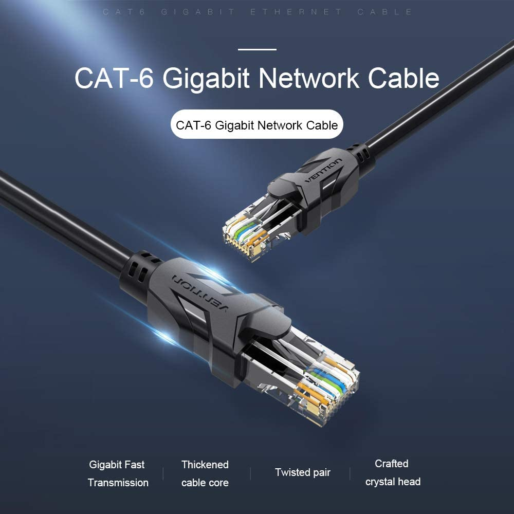 Festnight VENTION Cat 6 Ethernet Cable Gigabit Fast Speed Flat Network Cable RJ45 LAN Cable for Home Business 15m//49.21ft