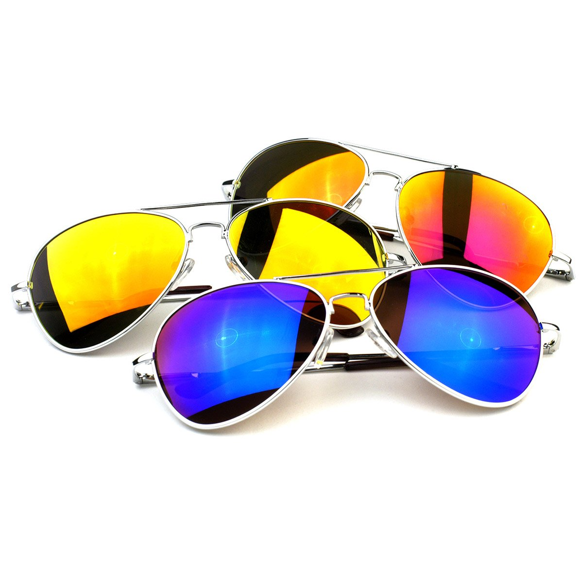 zeroUV - Classic Metal Teardrop Color Mirror Lens Aviator Sunglasses w/Spring Hinges (Silver Mixed (3-Pack))