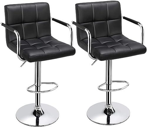 Topeakmart Black Barstools Swivel Leather Stool Adjustable Bar Chair Kitchen Chair