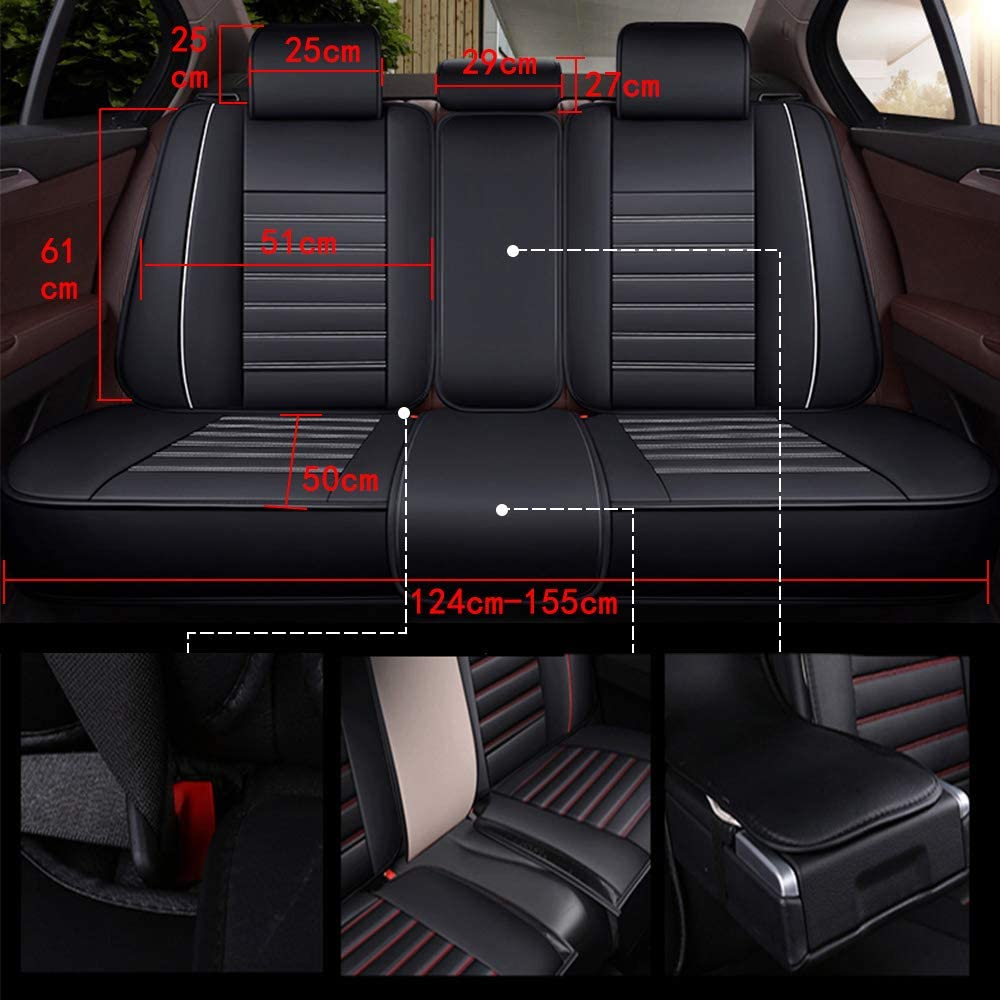 Luxury PADDED Leather Look Car Seat Covers Full Set BMW X5