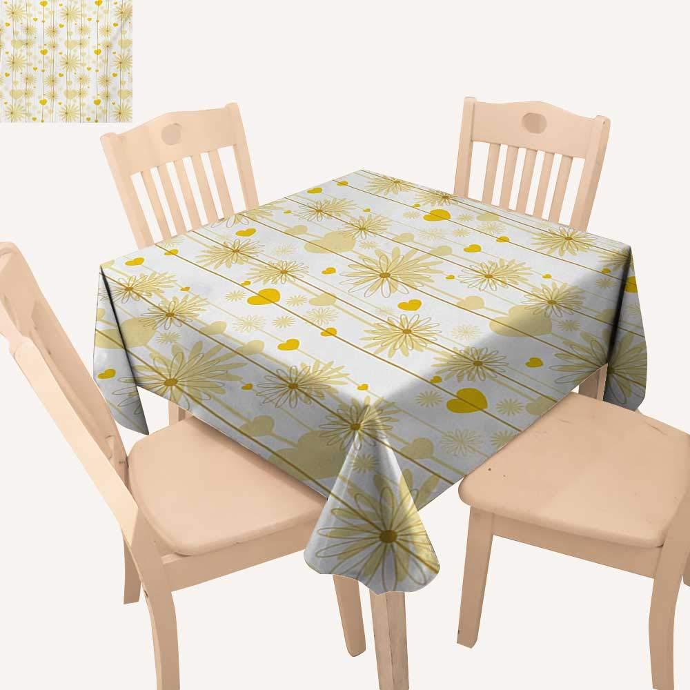 WinfreyDecor イエロー正方形テーブルクロス フラットデザイン ジグザグドット 垂直ライン レトロスクエアテーブルクロス イエローオレンジ W 70