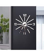 3D DIY Reloj Pared con números Romanos Espejo de acrílico Etiqueta de la Pared del Reloj