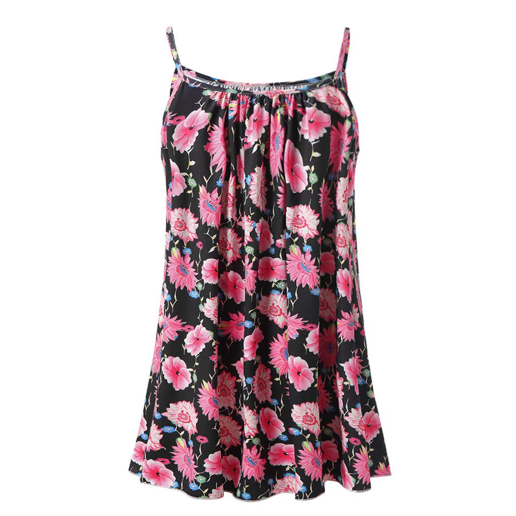 Ladies Flowy V Neck Casual Sexy Summer Tank Top Boho Cami Vest Swing Camisole Sleeveless Tank Tops Dress Plus Size Black