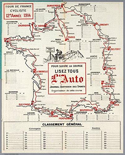 Map Poster - Tour de France Cycliste, 12e Annee 1914. - 24