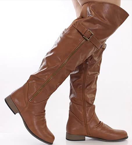 bf1e8c22ab571 La Bella Fashion Women's Tan Thigh High Faux Leather Buckle Boots