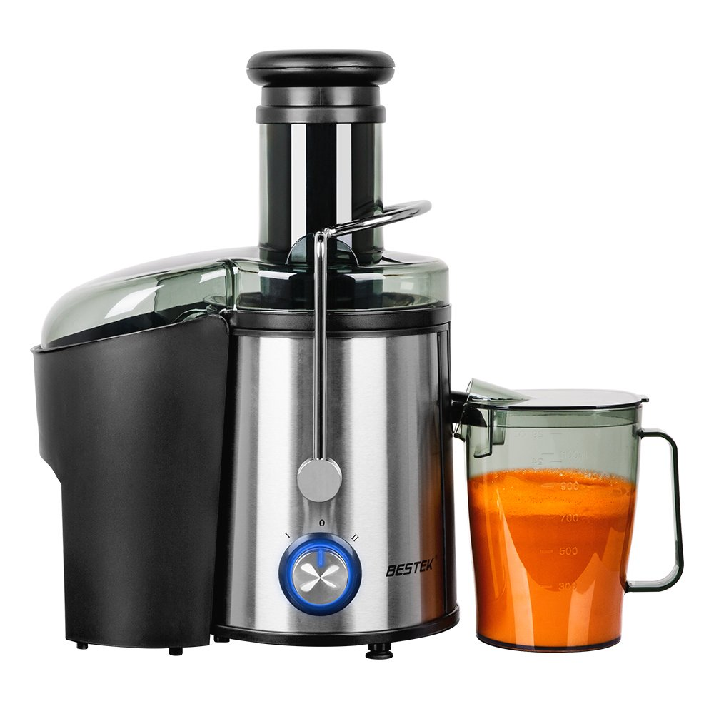 Juice Extractor, BESTEK 800 Watts Whole Fruit Centrifugal Juicer Machine with Juice Cup and Cleaning Brush, Stainless Steel