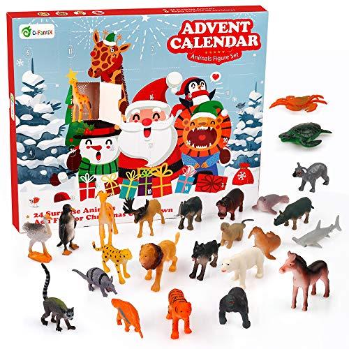 [해외]D-FantiX Safari Animal Toys Advent Calendar Christmas Countdown Calendars 24Pcs Wild Jungle Animal Figure Elephant Tiger Giraffe Horse Plastic Animals Playset Xmas Gift for Kids Toddlers / D-FantiX Safari Animal Toys Advent Calenda...