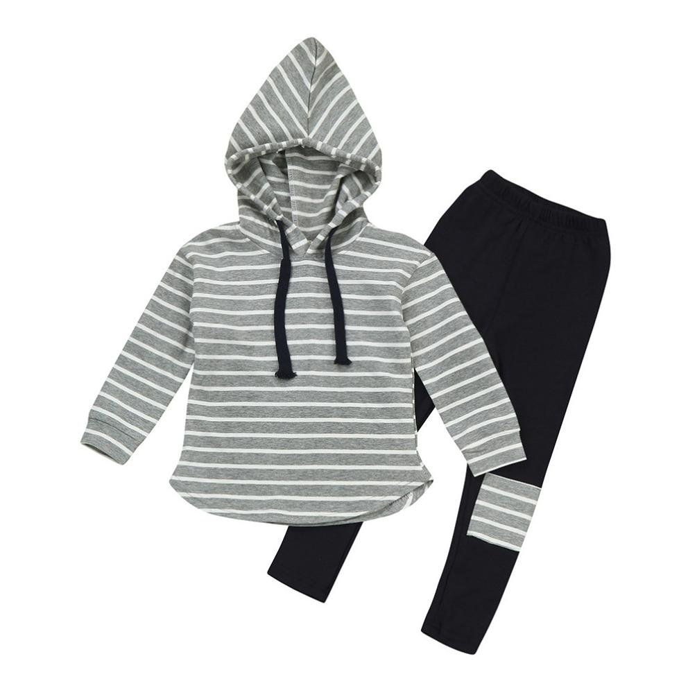 979a0c11b Amazon.com  Vicbovo Toddler Kids Boy Girl Striped Long Sleeve Hoodie ...