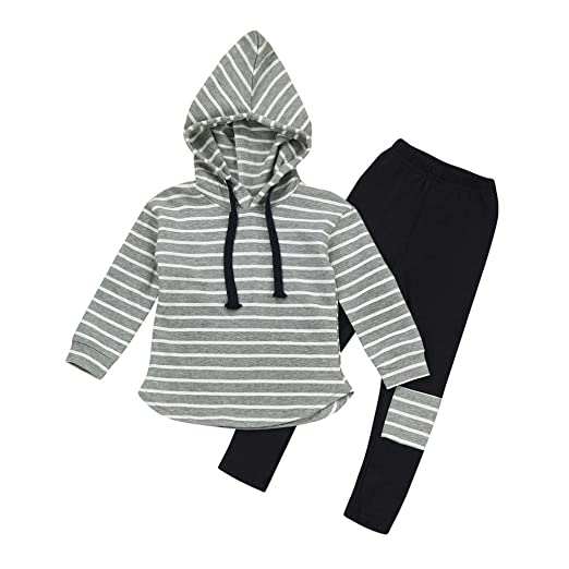 7bd32e3fe006 Amazon.com  Vicbovo Toddler Kids Boy Girl Striped Long Sleeve Hoodie ...