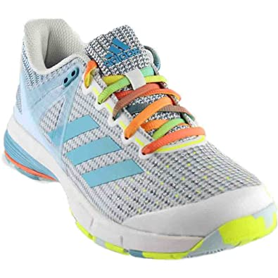 adidas Court Stabil 13 Womens Handball Shoe 5 White-Vapour Blue-Solar Yellow