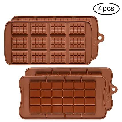 4 moldes de Silicona para Chocolate, Shenhai 2 Tipos de Rotura Apart Antiadherente Candy Protein