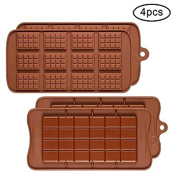 4 moldes de Silicona para Chocolate, Shenhai 2 Tipos de Rotura Apart Antiadherente Candy Protein y Energy Bar Molde Bandeja para Hornear: Amazon.es: Hogar