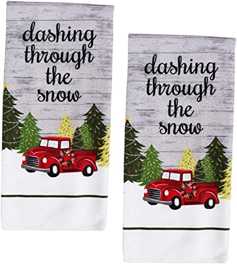 Amazon Com A Tdesigns Set Of 2 Classic Red Pickup Truck Christmas Kitchen Hand Dish Towels Home Kitchen