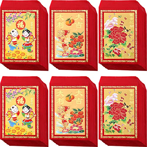 Bememo 120 Pieces Chinese Red Envelopes Hongbao Year of The Lucky Money Envelopes Money Pockets for Party and Chinese New Year, 3 Design, 4.72 x 2.75 Inch