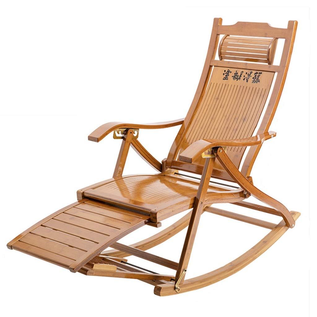 FULONG チェア ロッキングチェアビーチヤードプール折りたたみリクライニング調節可能な長椅子竹ラウンジチェア付きマッサージフットレスト B07RR31DV3