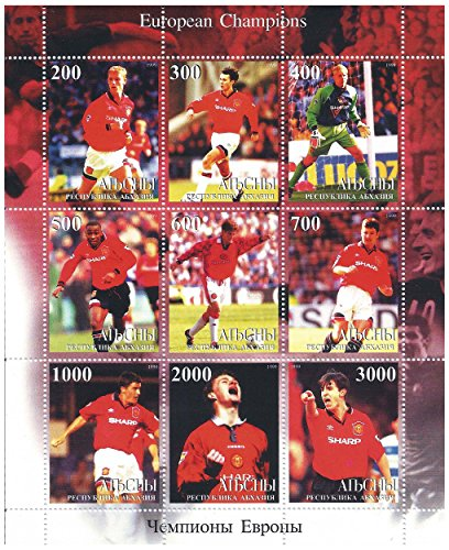 European Champions League winners Manchester United Football stamps for collectors with 9 stamps - Featuring the Sharp sponsorship kit / 1999 -