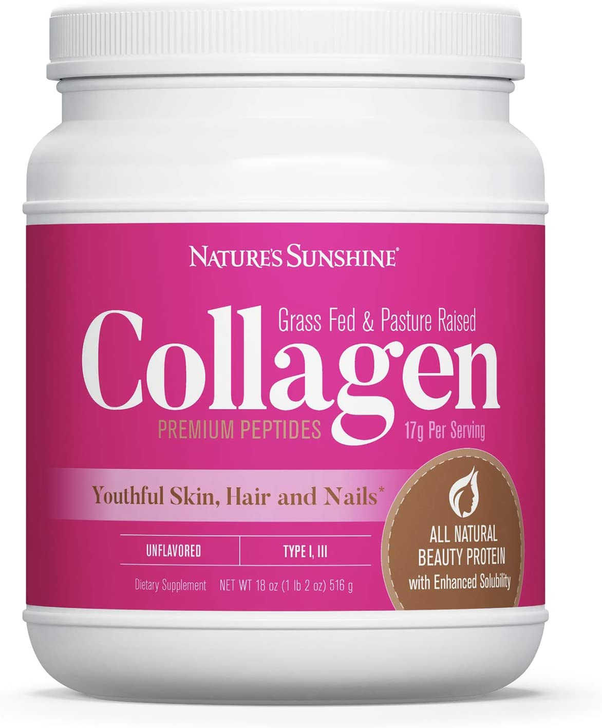 Nature's Sunshine Collagen Powder Type I and III Grass Fed and Pasture Raised Premium Bovine Collagen Peptides 18 Oz