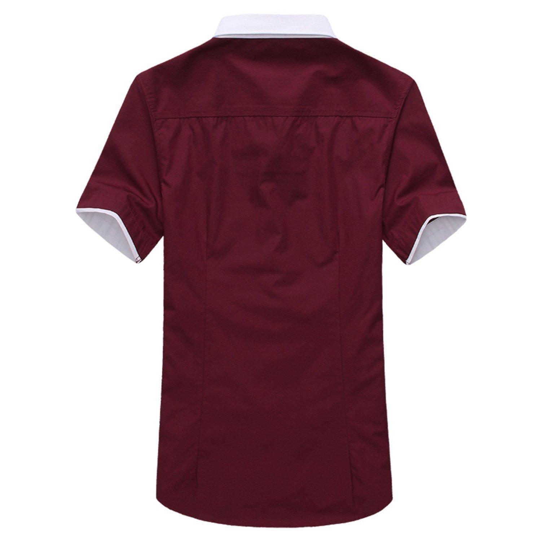 2018 Mens Short Sleeve Dress Shirts Collar Spell Color Slim Fit