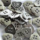 """Fancy & Decorative {13mm w/ 4 Holes} 12 Pack of Medium Size """"Flat"""" Sewing & Craft Buttons Made of Genuine Metal w/ Shiny Metallic Chrome Heart Shaped Love Accent Piece Design {Silver}"""