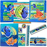 Disney Finding Dory School Supply Stationery Set; 3 Folders 3 Pencils, 100-page notepad Large, 100-Page Notepad Small, 1 Pencil Sharpener, 1 Pencil Case, 1 Eraser and 1 Ruler | Classroom Pack.