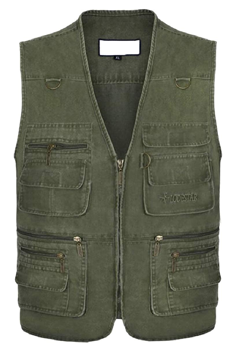 ZXFHZS Mens Outdoor Multi-Pockets Fashion Vest for Fishing Photography Journalist