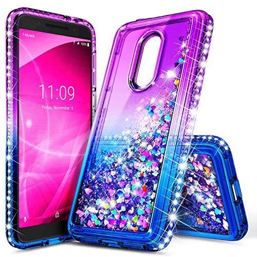 Revvl 2 Case (T-Mobile), NageBee Glitter Liquid Quicksand Waterfall Floating Flowing Sparkle Shiny Bling Diamond Shockproof Girls Cute Case for (T-Mobile) Alcatel Revvl 2 (2018) -Purple/Blue