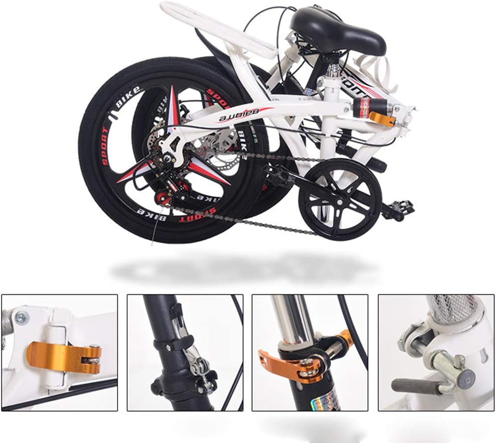 Fitfulvan 20 Inch Folding Mountain Bike Lightweight Mini Small Portable Bicycle Adult Student Full Suspension Frame Folding Bicycles Black