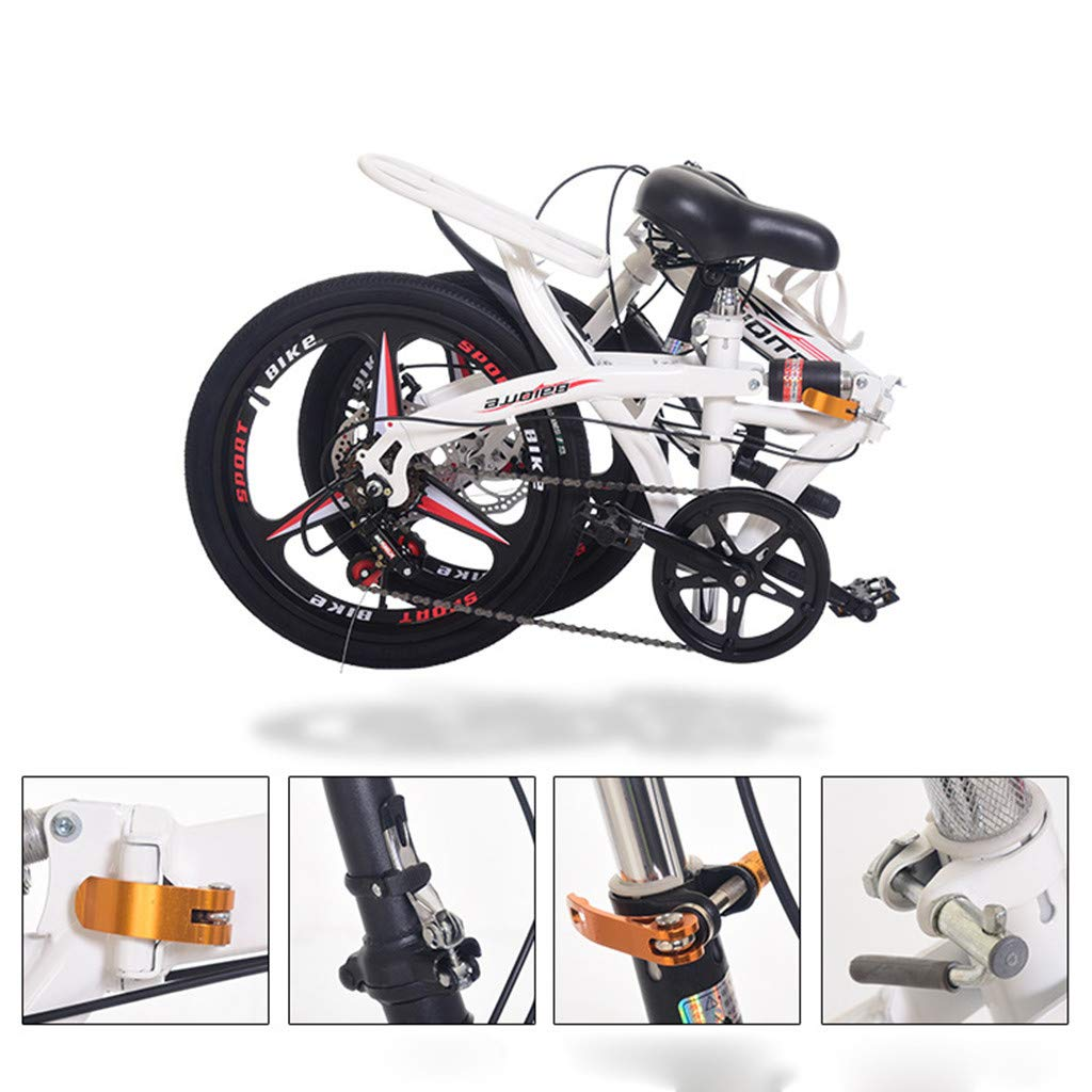 White 20 Inch Teen Outroad Mountain Bike,MKLEKYY Shock-Absorbing Folding Bicycle,Lightweight Mini Folding Bicycle,with Back Seat,Adult Folding Bicycle for Student,Magnesium Wheel,Double Disc Brake
