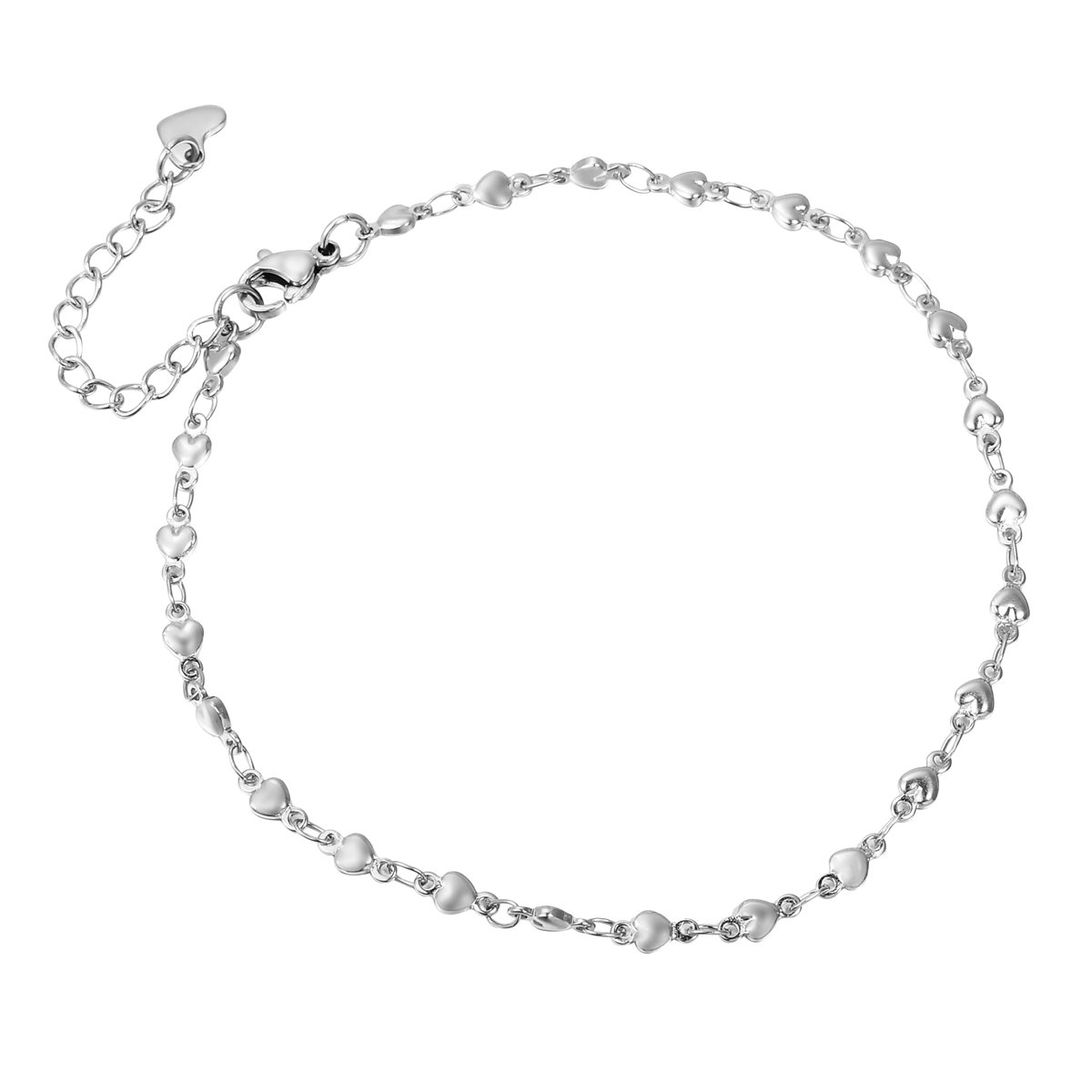 HooAMI Stainless Steel Silver Heart Link Chain Anklet Adjustable 24cm+4cm TY BETY106657