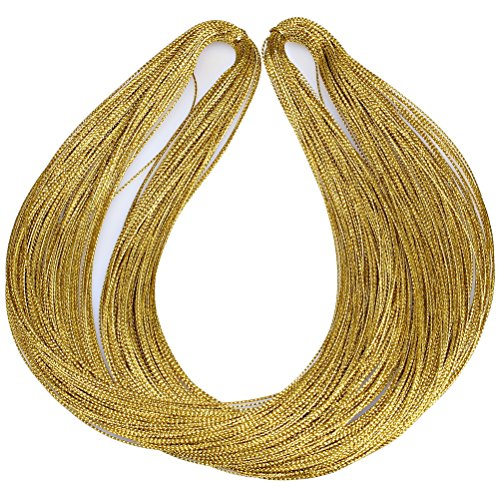 Pengxiaomei 100M 1mm Metallic Cord Jewelry Thread Craft String Lift Cord for Jewelry and Craft Making (Gold)